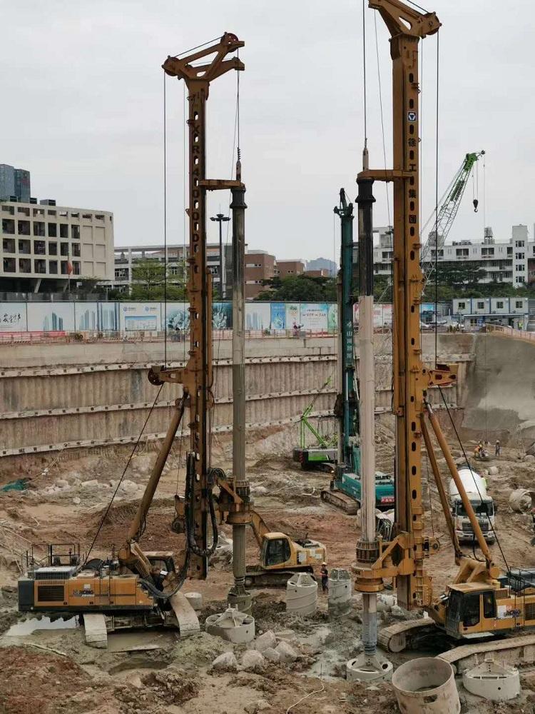 亿欧JS575-4*19M首页bob配套2台徐工XR400D钻机在粤港澳大湾区工地施工