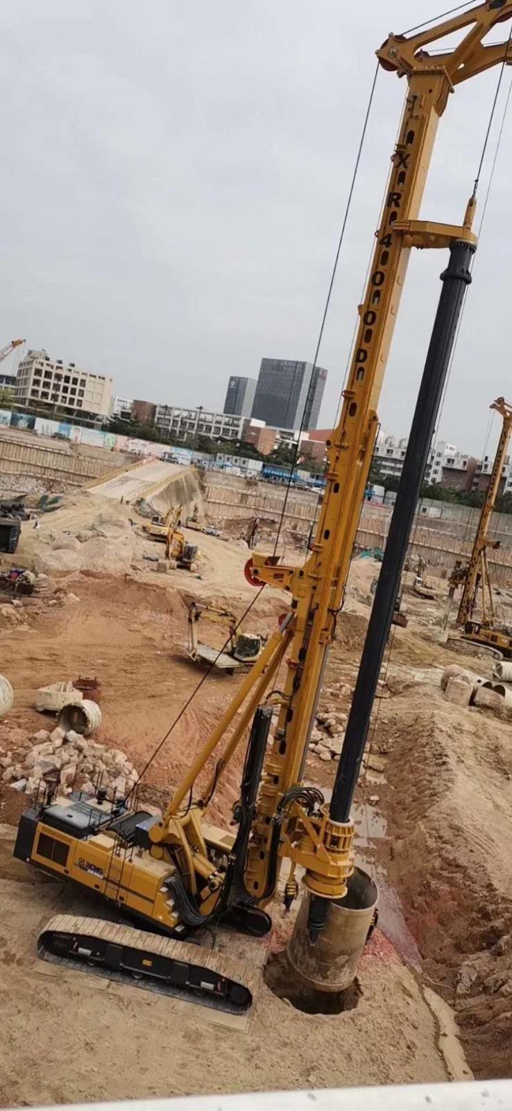 亿欧JS575-4*20M首页bob配套徐工XR400D钻机在广东工地施工