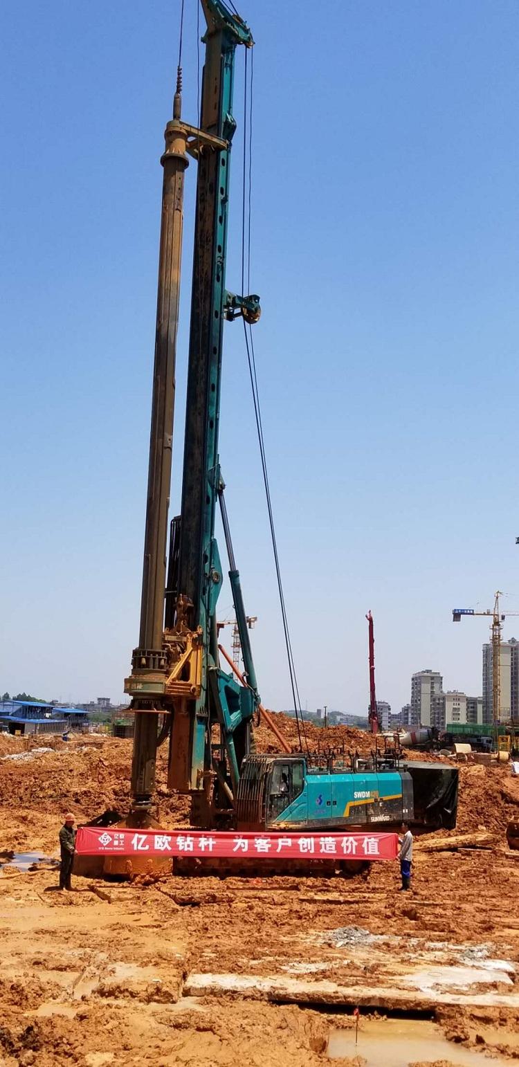 亿欧JS575-4*18.4M首页bob配套山河420钻机在湖南邵东施工