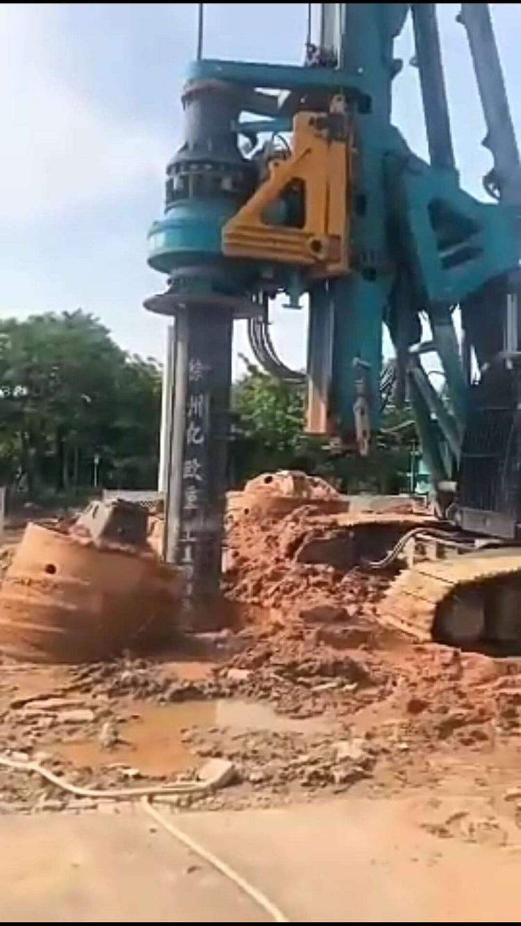 亿欧JS575-4-18.4米首页bob配套山河420H钻机在广州广河大桥工地施工